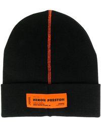 Heron Preston Contrast Stitching Beanie - Black