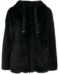Herno エコファー フーデッドジャケット - ブラック