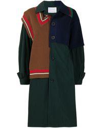 Kolor Knitted-panel Coat - Green