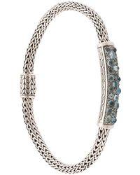 John Hardy Pulsera Classic Chain pequeña en plata de ley con aguamarina, diamante azul y topacio - Metálico
