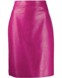 Gucci レザー ペンシルスカート - ピンク