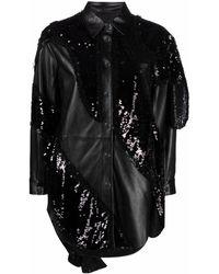 Pinko スパンコール レザーシャツ - ブラック