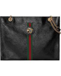 Gucci Rajah Large Leather Tote Bag - Black