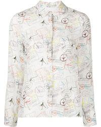 Alice + Olivia プリント シルクシャツ - ホワイト