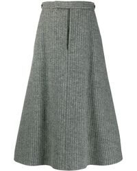 Thom Browne A-line Box Pleat Skirt - Gray