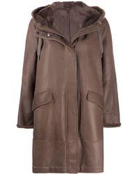 Brunello Cucinelli Пальто Из Овчины - Коричневый
