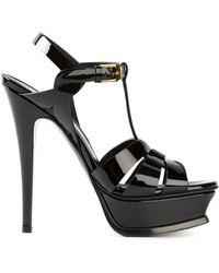 Saint Laurent TRIBUTE sandales à plateforme en cuir embossé crocodile - Noir