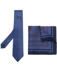 Lanvin ネクタイ&ポケットチーフ - ブルー