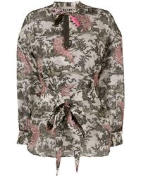 Bazar Deluxe Nature-inspired Print Long-sleeve Blouse - Multicolour
