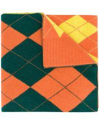 Pringle of Scotland アーガイルインターシャ スカーフ - オレンジ