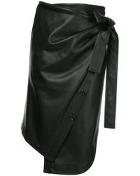 Goen.J - Asymmetric Faux-leather Wrap Skirt - Lyst