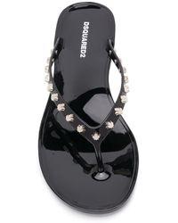 DSquared² Stud-embellished Flip Flops - Black