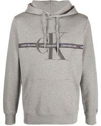 Calvin Klein Kapuzenpullover mit Logo-Stickerei - Grau