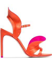 1daf22c03842 Sophia Webster - Orange And Pink Lucia 100 Satin Ruffle Sandals - Lyst