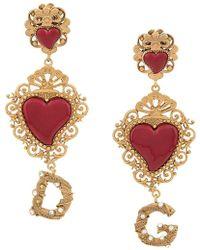 Dolce & Gabbana - Серьги В Форме Сердца С Логотипом - Lyst