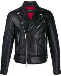 DSquared² Veste de moto à détails de boucles - Noir