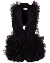 Loulou Ruffle Tailored Waistcoat - Black