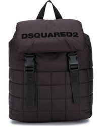 DSquared² Gesteppter Rucksack mit Logo - Schwarz