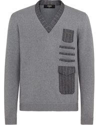 Fendi Pinstriped Pockets V-neck Sweater - Grey