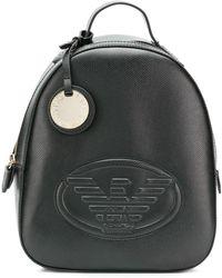 Emporio Armani エンボスロゴ バックパック - ブラック