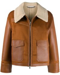Stella McCartney Faux Leather Shearling-trimmed Jacket - Brown