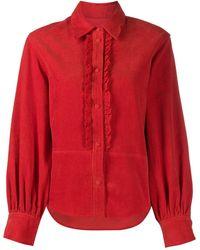 Pushbutton Вельветовая Рубашка С Оборками - Красный