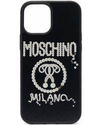 Moschino Iphone 12 Pro Max Hoesje Met Studs - Zwart