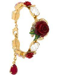 Dolce & Gabbana Bracelet à fleurs et détails en cristal - Rouge