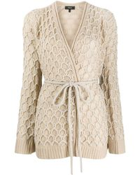 Theory Wrap-style Belted Cardigan - Natural