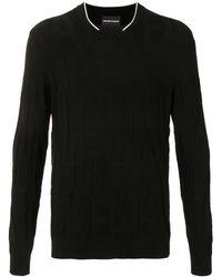 Emporio Armani ファインニット ロゴ セーター - ブラック