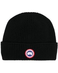 Canada Goose ロゴパッチ ビーニー - ブラック