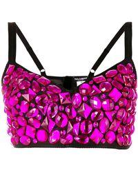 Dolce & Gabbana Rhinestone Bralette Top - Pink