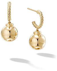 David Yurman - 18kt Yellow Gold Solari Hoop Drop Earrings - Lyst