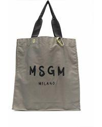 MSGM ロゴ トートバッグ - グリーン