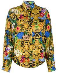 Versace Jeans Shirt Met Barokprint - Zwart