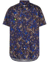 Department 5 Floral Short-sleeve Shirt - Blue