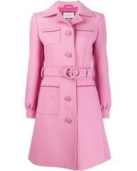Gucci Пальто С Поясом И Логотипом Interlocking G - Розовый