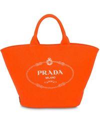 Prada Sac à main à logo - Orange