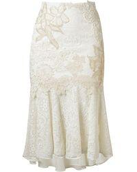 Martha Medeiros Embroidered Lace Mix Midi Skirt - White