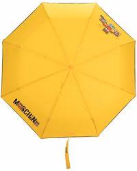 Moschino Paraguas con logo estampado - Amarillo