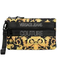 Versace Jeans Couture ロゴ クラッチバッグ - ブラック