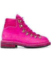 Guidi Distressed 'cordovan' Trekking Boots - Roze