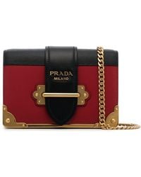 7c6b024e27dc ... denmark prada black and red cahier mini leather shoulder bag lyst caabd  8fba4