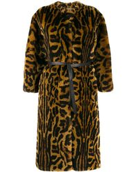 Givenchy Leopard Print Faux Fur Coat - Brown