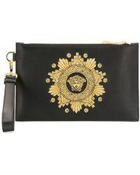 Versace Bolso de mano con bordado de cabeza de Medusa - Negro