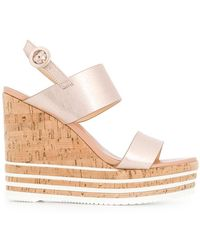 Hogan - Strappy Striped Wedge Sandals - Lyst