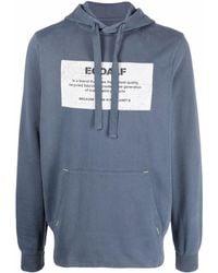 Ecoalf Graphic-print Cotton Hoodie - Blue