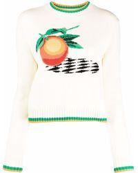 CASABLANCA インターシャ セーター - ホワイト