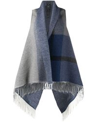 Emporio Armani Fringed Knitted Waistcoat - Blue