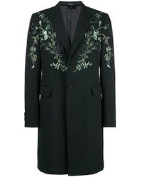 Alexander McQueen - Floral Embroidered Single Breasted Coat - Lyst